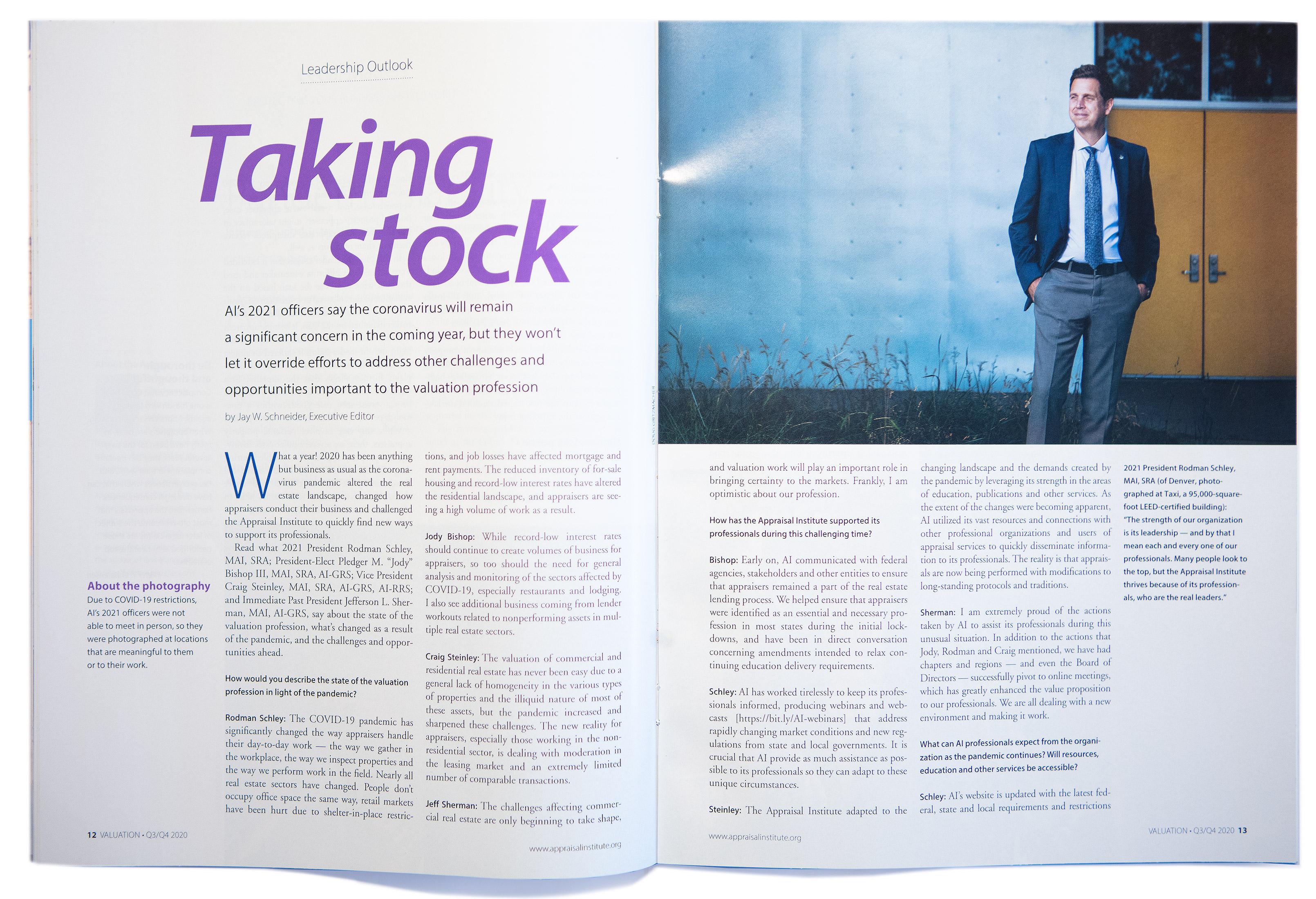 Inside magazine spread photoshoot of Rodman Schley Appraisal Institute magazine