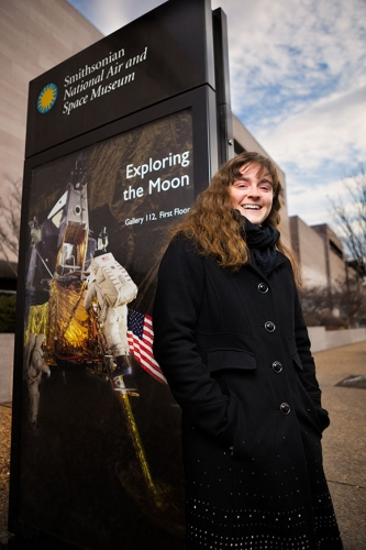 university student stands by smithsonian museum
